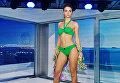 Модель во время дефиле в купальниках на Международной выставке нижнего белья, купальников, домашней одежды и чулочных изделий Lingerie Show-Forum - 2017 в Москве