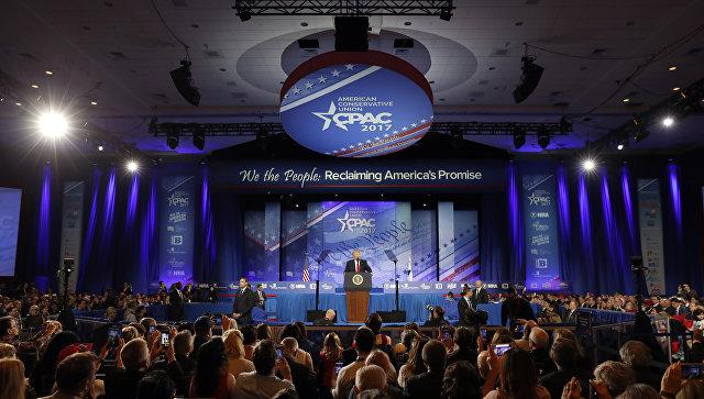Выступление президента США Дональда Трампа на консервативной конференции в пригороде Вашингтона