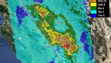 Карта участков Калифорнии, чья высота понизилась в последние два года