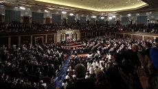 Президент США Дональд Трамп во время выступления перед палатами Конгресса в Вашингтоне, США. 28 февраля 2017 года