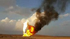 Боевики ИГ* подожгли газовую скважину Хаян под Пальмирой