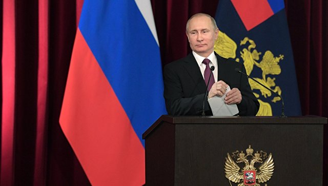Президент РФ Владимир Путин выступает на расширенном заседании коллегии МВД России. 9 марта 2017