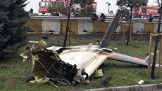 Обломки вертолета, разбившегося в Стамбуле, Турция. 10 марта 2017