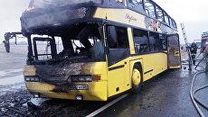 Сгоревший автобус на Ставрополье