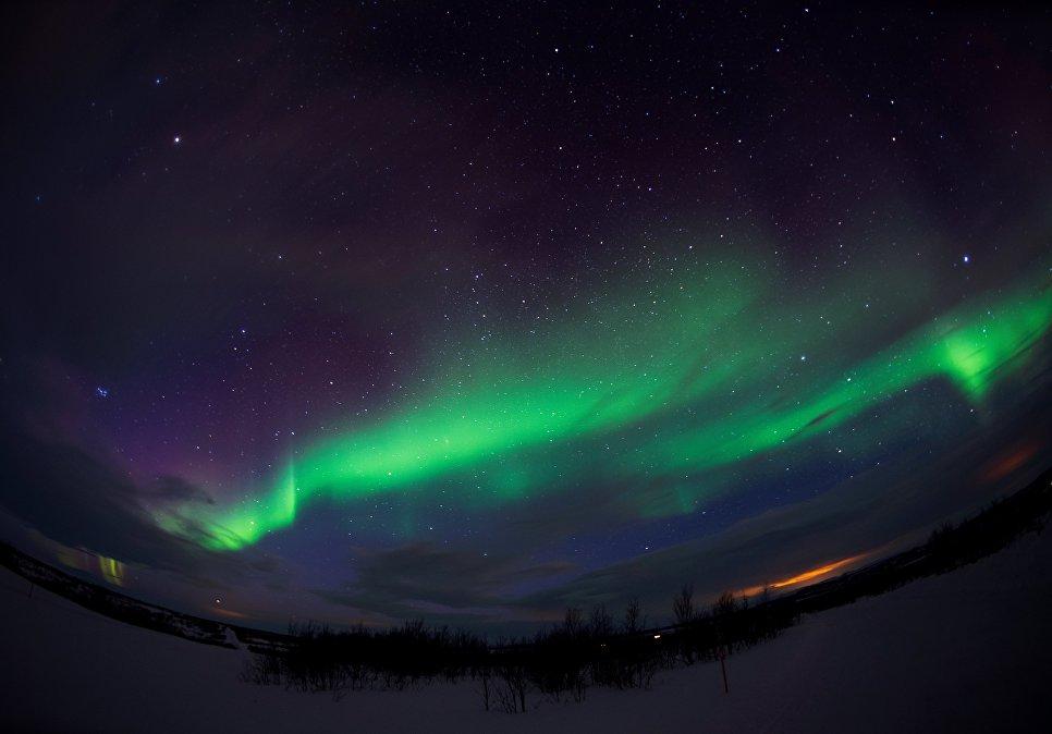 Северное сияние недалеко от Кеутукейна, Норвегия