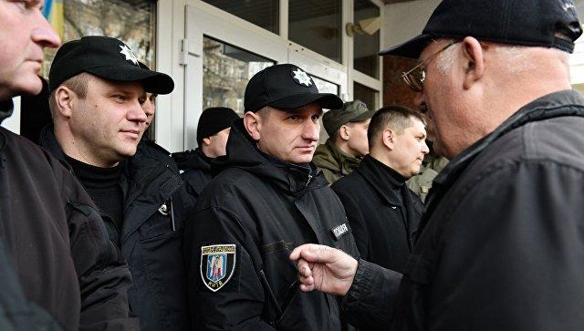 Акция пенсионеров МВД с требованием повышения размера пенсии в Киеве. 21 марта 2017