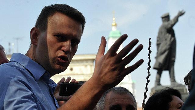 Блогер Алексей Навальный принимает участие в несанкционированной акции протеста