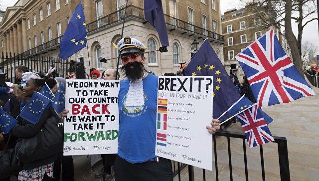 Противник выхода Великобритании из Европейского Союза на улице Лондона. Архивное фото