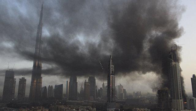 ВДубае загорелось строящееся 60-этажное сооружение