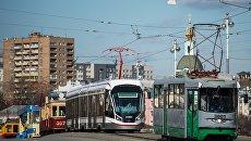 Парад трамваев в Москве. Архивное фото