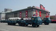 Военный парад в Пхеньяне. 15 апреля 2017
