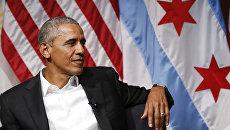 Бывший президент США Барак Обама во время выступления в университете Чикаго. 24 апреля 2017