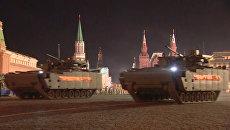 Кадры ночной репетиции парада Победы в Москве