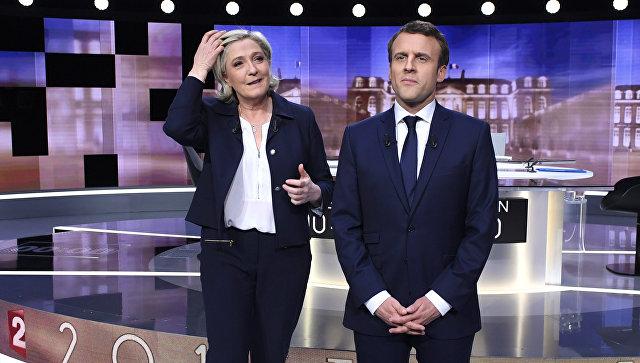 Кандидаты в президенты Франции Эммануэль Макрон и Марин Ле Пен на теледебатах. 3 мая 2017