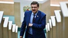 Председатель Комитета Совета Федерации по международным делам Константин Косачев на заседании Совета Федерации РФ