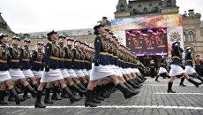 Военнослужащие во время военного парада в Москве. 9 мая 2017