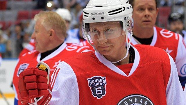 Президент России Владимир Путин принял участие в гала-матче VI Всероссийского фестиваля Ночной хоккейной лиги
