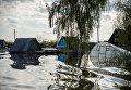 Частные дома в городе Ишим Тюменской области, подтопленные в результате сильного поднятия воды в реках Ишим и Карасуль