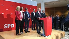 Мартин Шульц выступает после подведения итогов региональных выборов
