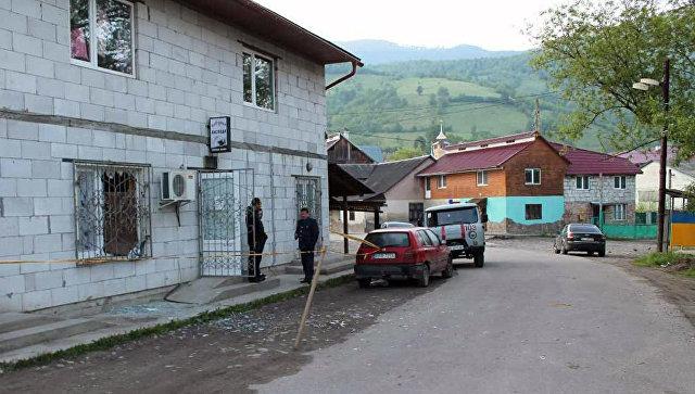 Кафе в селе Косовская Поляна в Закарпатской области Украины, где произошел взрыв гранаты РГД
