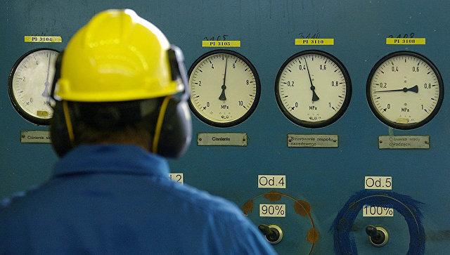 Сотрудник польской государственной нефтегазовой компании PGNiG на газораспределительной станции
