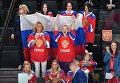 Жены и подруги игроков сборной России во время матча 1/4 финала чемпионата мира по хоккею 2017 между сборными командами России и Чехии. 18 мая 2017