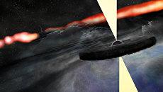 Так художник представил две черных дыры в центре галактики Лебедь А