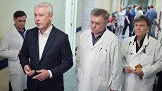 Мэр Москвы С. Собянин посетил в больнице пострадавших в результате урагана