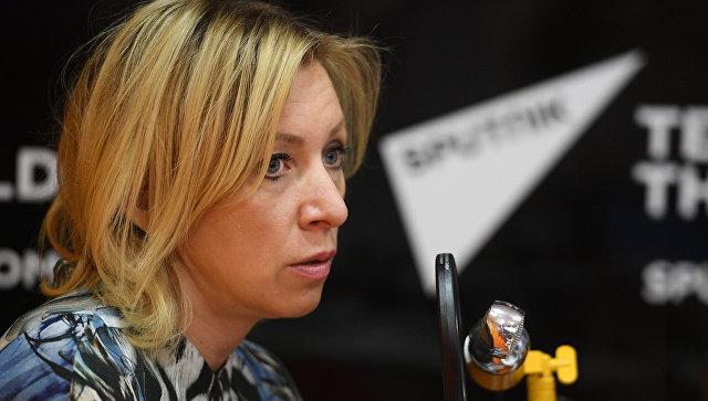 Официальный представитель министерства иностранных дел России Мария Захарова во время интервью радио Sputnik