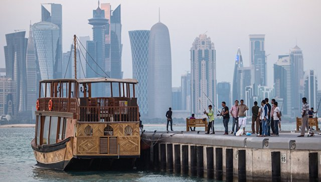 Вид с набережной на район Вест-Бэй города Доха, Катар. Архивное фото