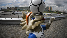 Фигура официального талисмана чемпионата мира по футболу 2018 и Кубка конфедераций 2017 волка Забиваки в Казани. Архивное фото