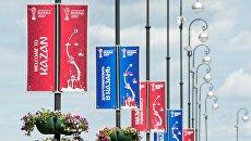 Баннеры с символикой Кубка конфедераций FIFA 2017 на одной из улиц в Казани. Архивное фото