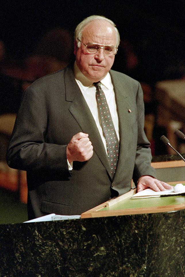 Канцлер Германии Гельмут Коль на выступлении в Генассамблеи ООН. 1992 год