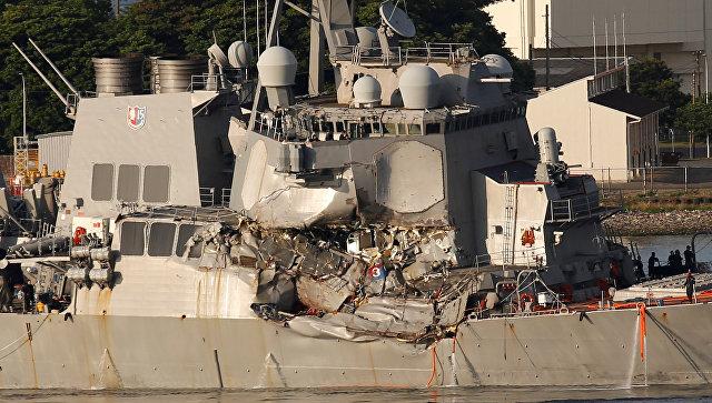 Эсминец США, столкнувшийся с филиппинским судном