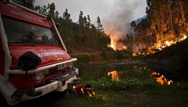 Пожарный расчет во время пожара в Пенеле Коимбра в центре Португалии