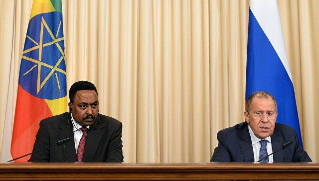 Сергей Лавров во время переговоров с главой МИД Эфиопии Воркнехом Гебейеху. 26 июня 2017