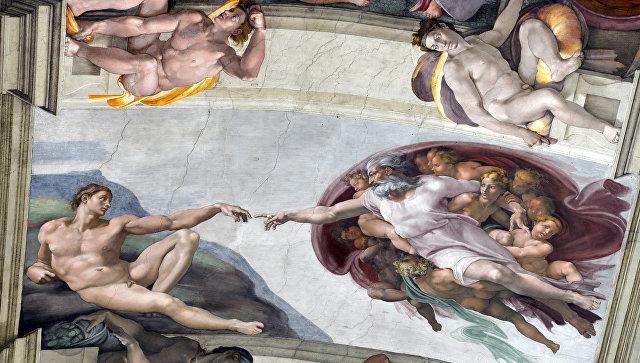 Роспись потолка Сикстинской капеллы работы Микеланджело