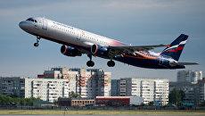 Самолет Airbus A321 авиакомпании Аэрофлот взлетает в международном аэропорту. Архивное фото