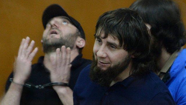 Хамзат Бахаев, Заур Дадаев и Анзор Губашев во время оглашения приговора по делу об убийстве Бориса Немцова. 13 июля 2017