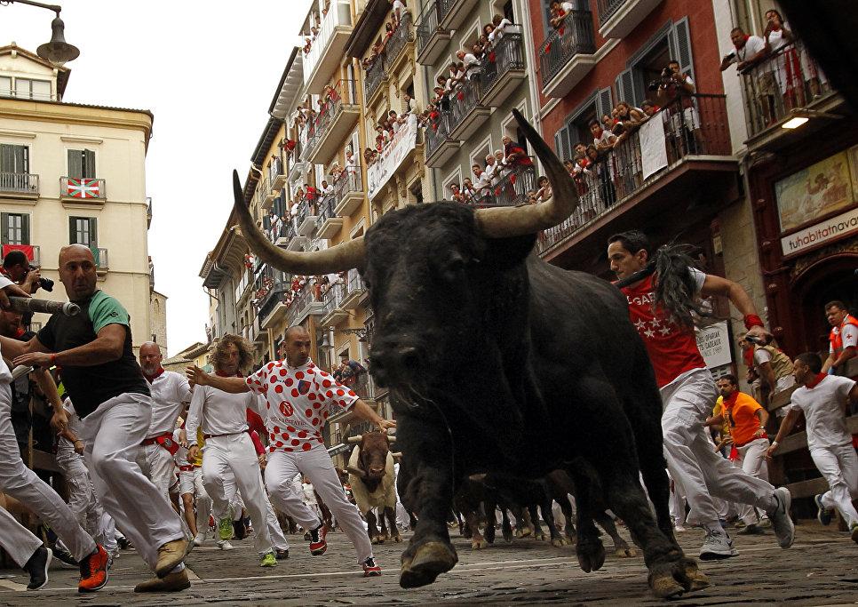 Гуляющие убегают от быка во время фестиваля Сен-Фермин в Памплоне