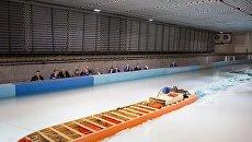 Модельные испытания ледокола проекта 10510 Лидер в ледовом бассейне Крыловского научного центра. Архивное фото