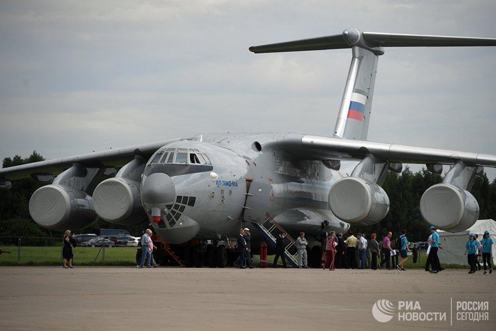 Самолет ИЛ-76 МД на Международном авиационно-космическом салоне МАКС-2017 в Жуковском. 18 июля 2017