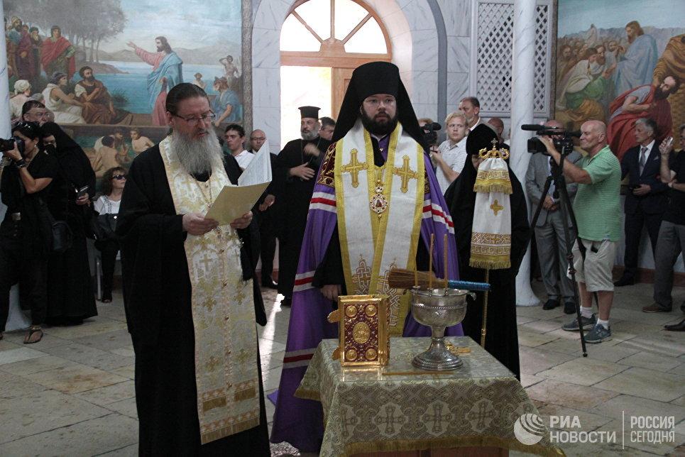 Молебен перед началом церемонии открытия Сергиевского подворья в Иерусалиме