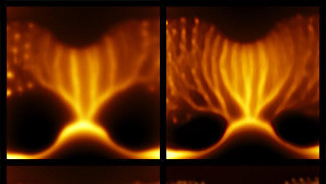 Фотография воронок внутри сверхпроводниковой пленки