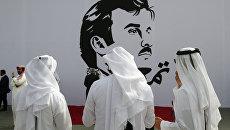 Портрет эмира Катара Тамима бин Хамада Аль Тани в Дохе