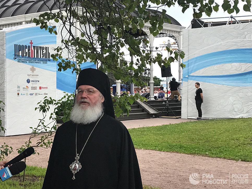 Епископ Троицкий Панкратий дает интервью перед открытием фестиваля Просветитель на Валааме