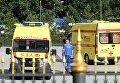 Автомобили скорой медицинской помощи у здания Московского областного судав котром произошла перестрелка. 1 августа 2017
