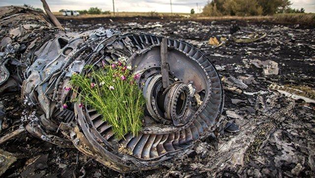 Цветы на двигателе лайнера Boeing 777 Малайзийских авиалиний, потерпевшего крушение в районе города Шахтерск Донецкой области