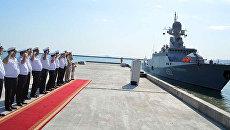 Военные корабли России, принявшие участие в Кубке моря в рамках Армейских международных игр (АрМИ-2017), покидают бакинский порт