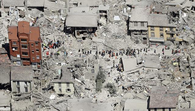 Последствия землятресения в итальянском городе Аматриче
